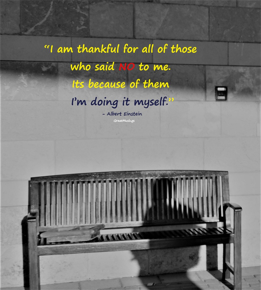 Albert Einstein inspiring quote on a picture with a bench and a shadow