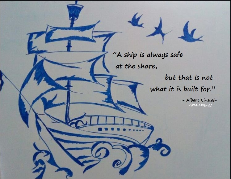 inspiring quote of Albert Einstein on a drawing of a ship