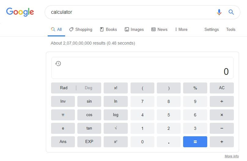 Calculator in Google Search Bar