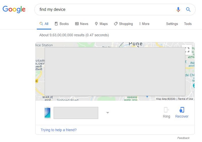 Find My device written in search bar