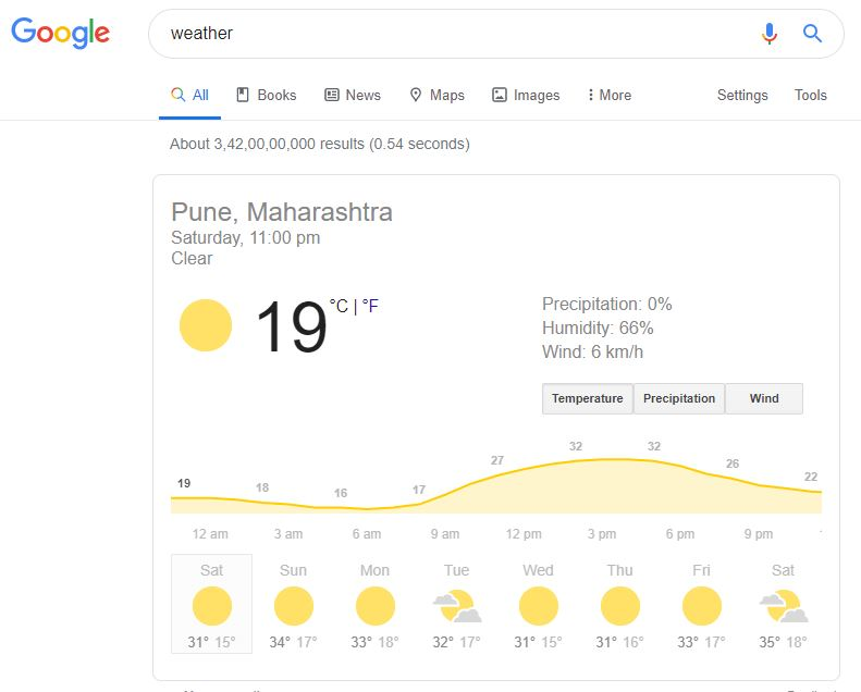 weather written in the google search bar