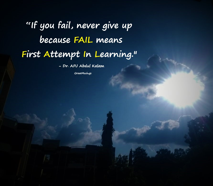 Abdul Kalam failure quote on a nature pic with sun and clouds