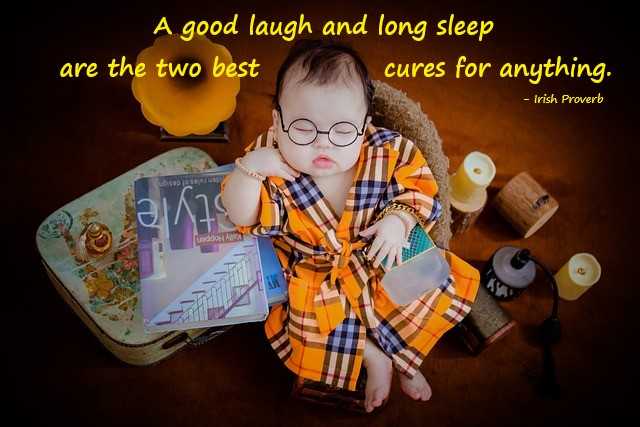 Cute kid sleeping pic with a mental health quote