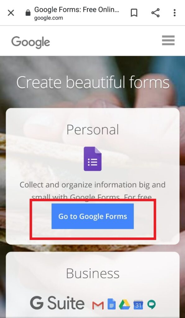 Screenshot of Go to Google Forms