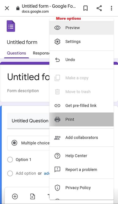 Screenshot for More options