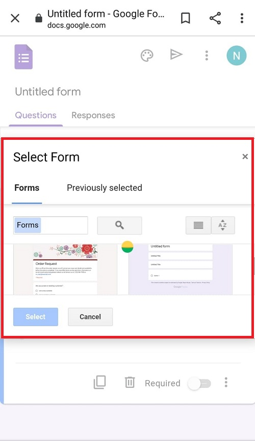 Screenshot to select form in Google Forms