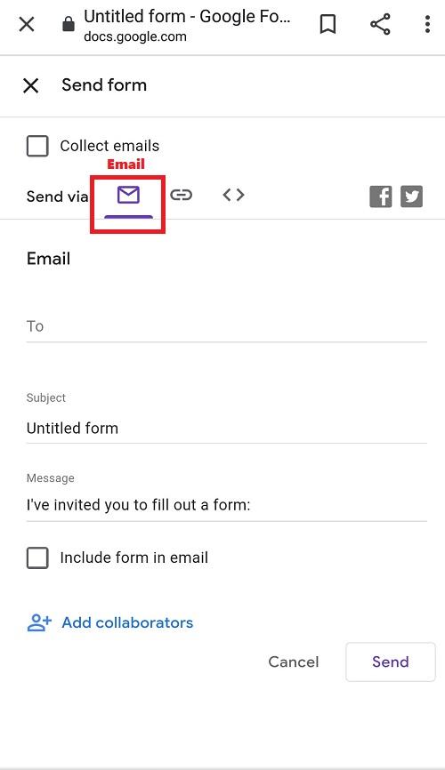 Screenshot to send Google Forms