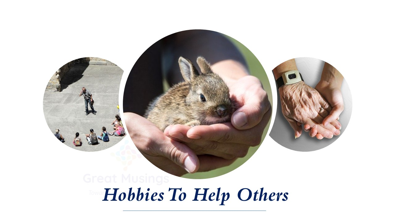 hobbies to help others: mentor, rabbit in a hand and helping hands